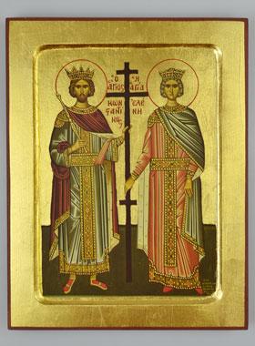 Icono Bizantino Santa Elena y San Constantino - 22 cm | La Tienda de Lourdes